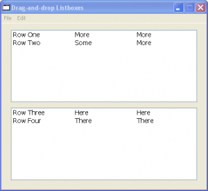 Rows dragged to bottom listbox